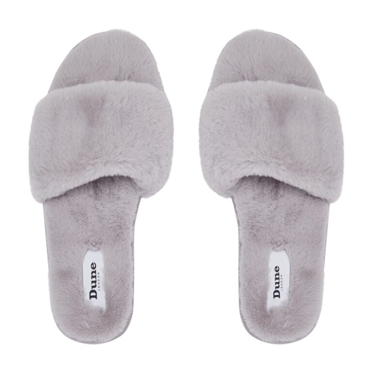 Snuggled Grey Slippers £35 www.dunelondon.com