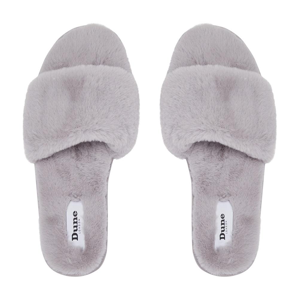 Snuggled Grey Slippers £35 www.dunelondon.com