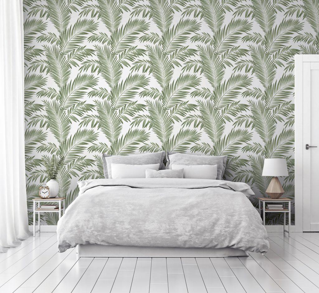 P&S Tropical Palm Green Bedroom