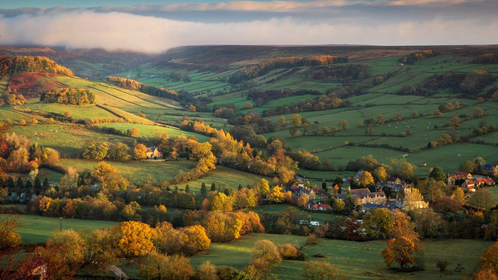 A view down into Rosedale to the village of Rosedale Abbey