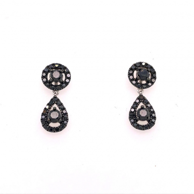 18ct White Earrings Set with 1.40ct of Black Diamonds priced at £1390.00