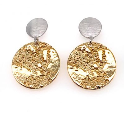 Matt silver and textured 18ct yellow gold plated drop earrings priced at £279.00